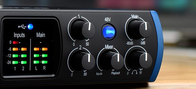 48V phantom power for condensor microphones.